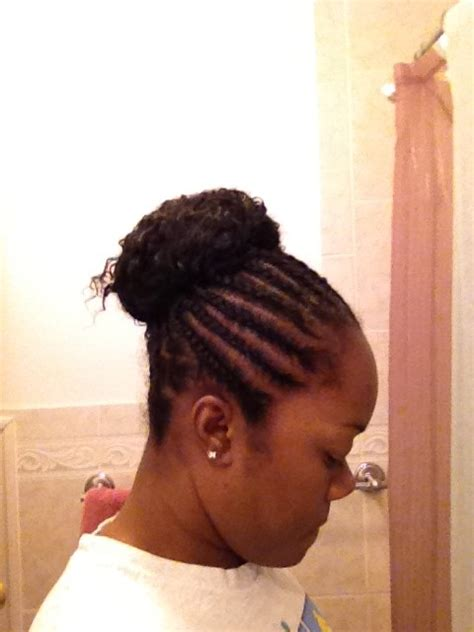 large cornrow bun styles protective style for short to medium length hair