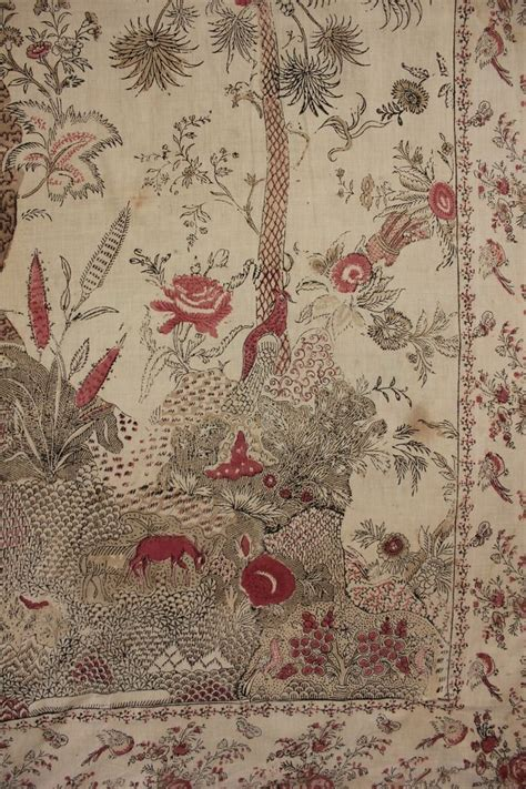 Bedcover 180160 Italy antique italian printed chintz bed cover hanging mezzara mezzaro early 1800 s bed covers