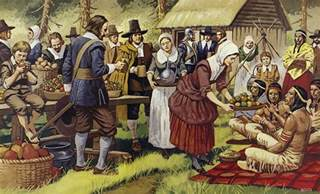 indians at first thanksgiving the first thanksgiving painting by mike white