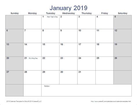word calendar template