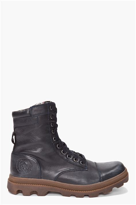 diesel boot diesel butch boots in blue for lyst