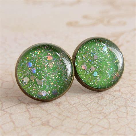 green earrings post earrings stud earrings resin