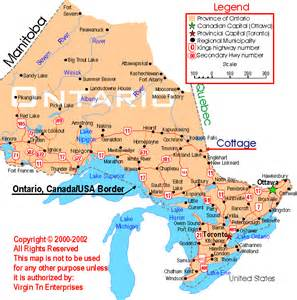 map of canada showing major cities map of ontario