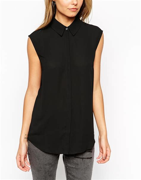 Black Blouse asos sleeveless blouse in black lyst