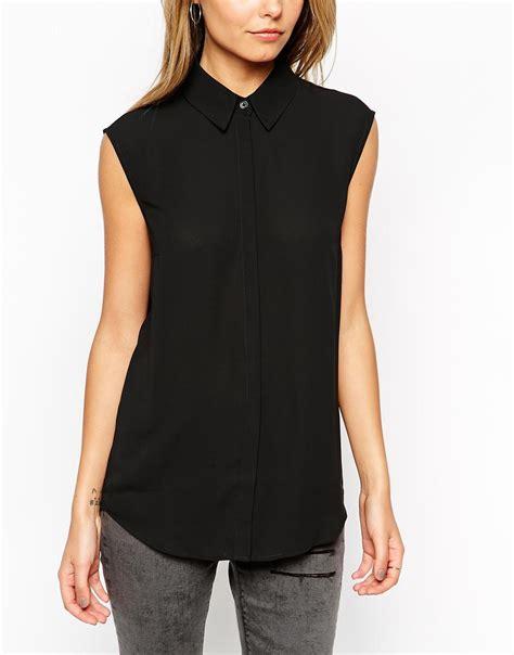 Sleeveless Shirt 8 asos sleeveless blouse in black lyst