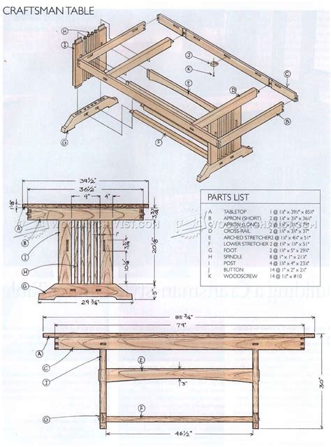 Mission Style Dining Table Plans 1919 Craftsman Style Dining Table Plans Woodarchivist