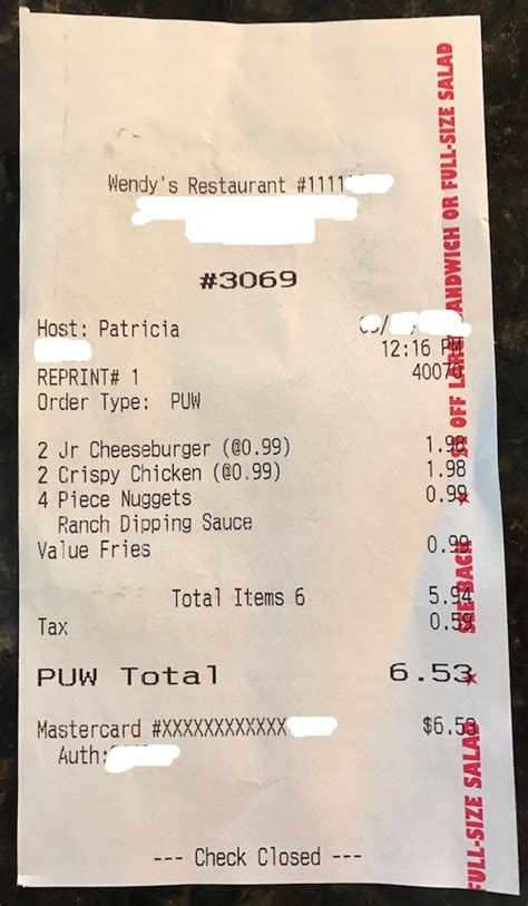 Burger King Receipt Template by Cheapest Wendy S Meal 6