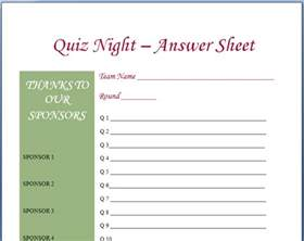 trivia template quiz answer sheets