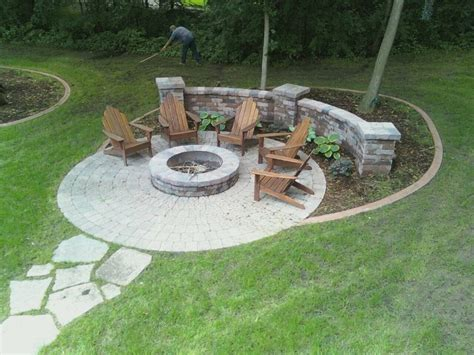 Paver Fire Pit Area With Sitting Walls Yelp Firepit Area