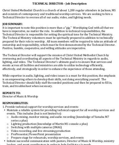 9 Technical Director Job Description Sles Sle Templates Church Director Description Template