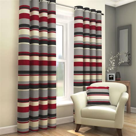 red grey and black curtains striped eyelet lined curtains red black tony s