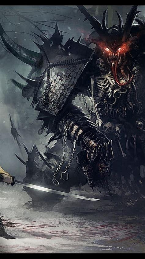 paintings dark monsters samurai fantasy art warriors
