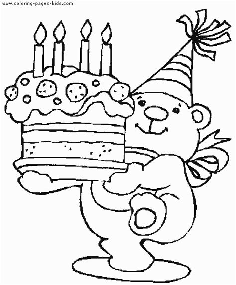 birthday bear coloring pages birthday color page coloring pages for kids holiday