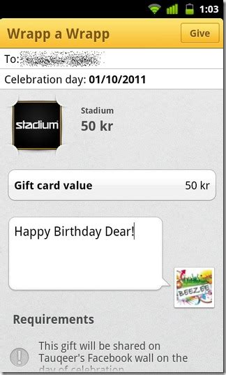 Send Visa Gift Card Via Text Message - wrapp send digital birthday cards to your facebook friends android