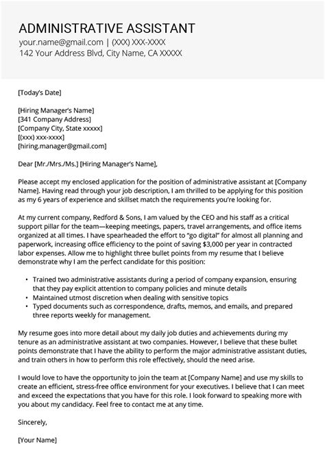 writing a cover letter for an administrative assistant position administrative assistant cover letter exle tips