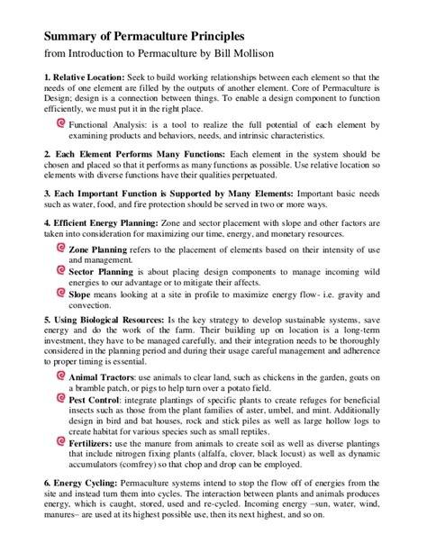 Bill Mollison principles summary