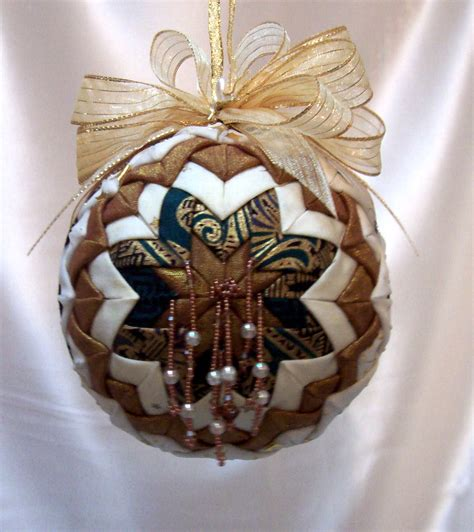 victorian folded fabric ornament gold white christmas holiday