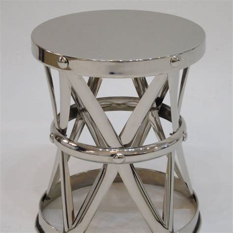 Garden Stool Side Table by Nickel X Frame Garden Stool Side Table For Sale At 1stdibs
