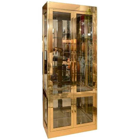 brass vitrine cabinet by mastercraft