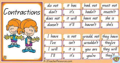 printable contraction games teaching contractions k 3 teacher resources