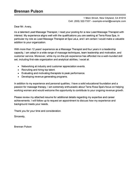 lead massage therapist cover letter exles salon spa