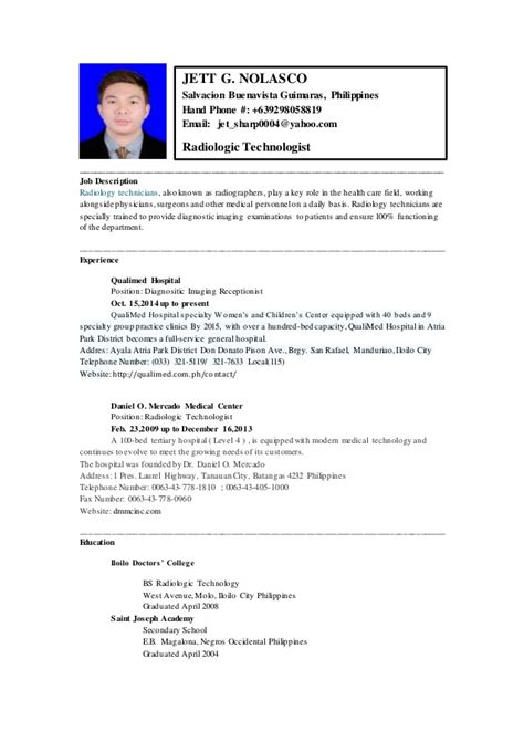 Radiologic Technologist Description by Resume Technologist Philippines 28 Images A Well Ph And Resume On Computer Technician