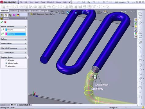 solidworks tutorial tubing solidworks 2012 tutorial sweeping a pipe youtube