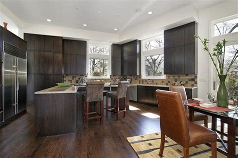 Pleasant Hardwood Floors with Dark Kitchen Cabinets