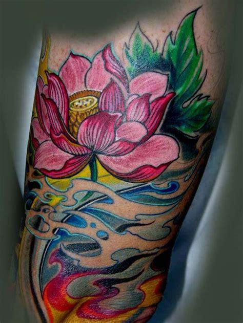 lotus flower tattoo japanese meaning beautiful japanese lotus flower in waves tattoo on arm
