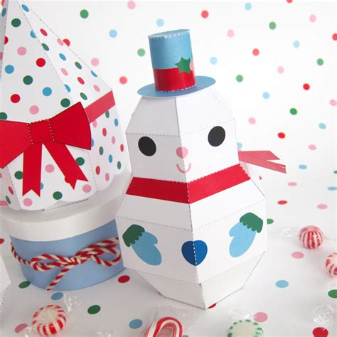 printable paper craft snowman snowgirl and tree treat boxes printable paper