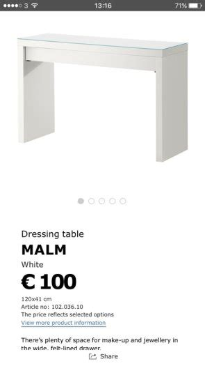 malm occasional table dimensions ikea malm dressing table sideboard glass top for sale in