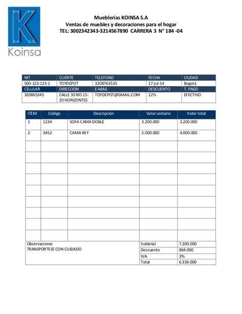 forma de presupuesto formato cotizacion