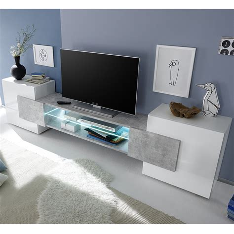 Meuble Tv Laque Blanc Brillant by Meuble T 233 L 233 Design Blanc Laqu 233 Brillant Et B 233 Ton Sofamobili