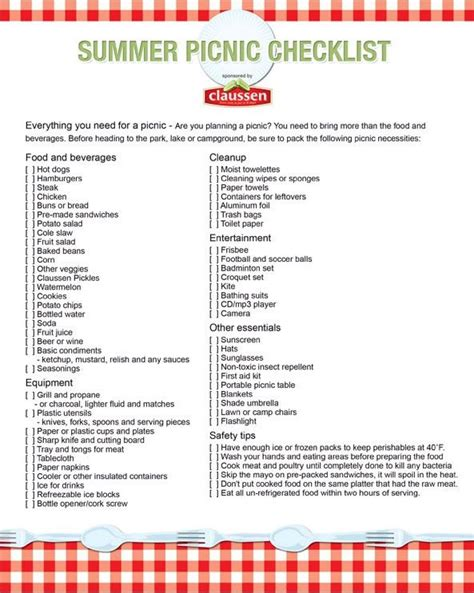 Checklist Of Things You Need For A Picnic by Barbecue Checklist Home Contact Site Map Privacy Policy