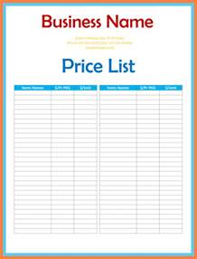 Wholesale Price Sheet Template by 6 Price Sheet Template Marital Settlements Information