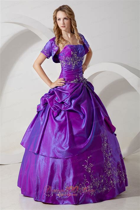 Dress Sweet Two Color Mix Import Premium Quality sweet 16 dress with jacket purple taffeta embroidery most