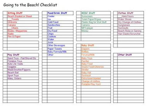 summertime lake or beach vacation packing list free printable