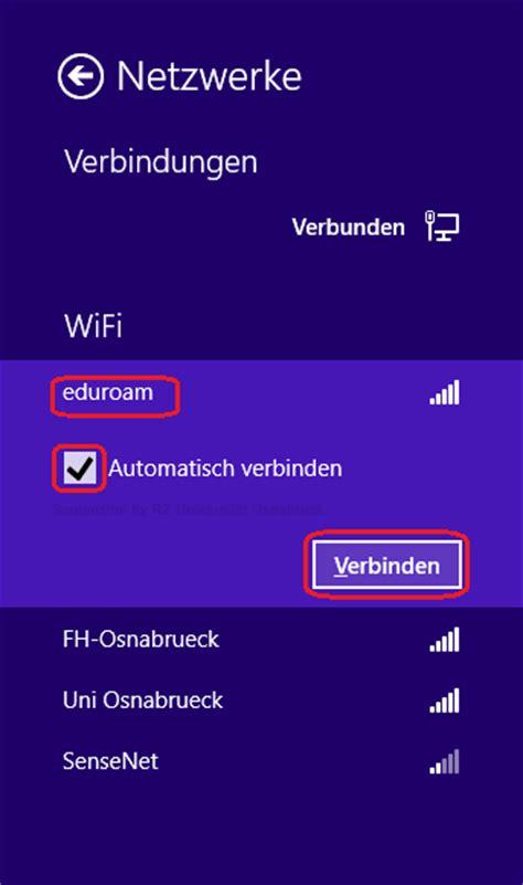 wlan automatisch verbinden einrichten anmelden am eduroam wlan unter windows 8