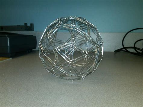 Paper Snub Dodecahedron - more paperclip snub dodecahedron make