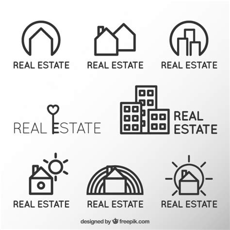 real estate logotypes in minimalist style vector free