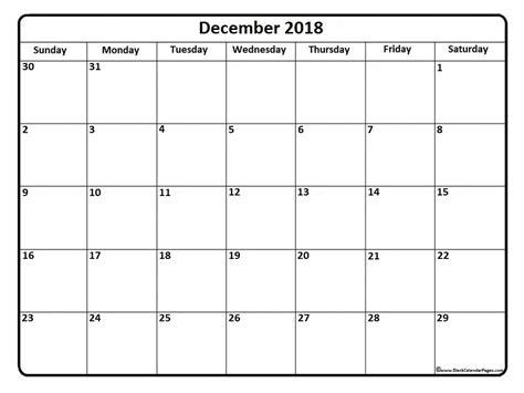 2018 December Calendar December 2018 Calendar December 2018 Calendar Printable