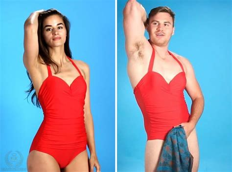 pic of men wearing womens one piece swimsuits these men tried out women s swimwear and now they know