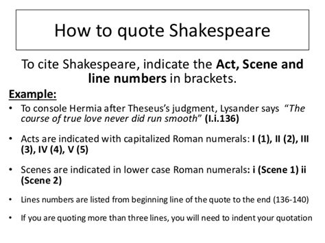 how to write a quote in a paper how to quote shakespeare
