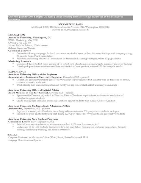 chronological resume template word 2010 chronological resume sle format free