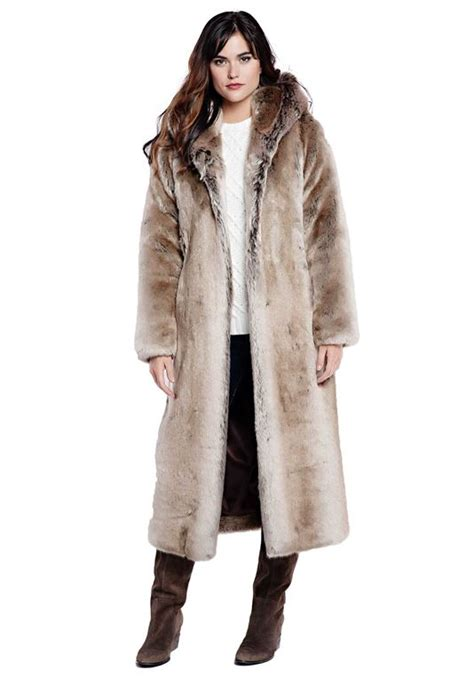 Faux Fur Hooded Coat timber wolf length hooded faux fur coat womens faux