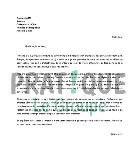 Lettre De Motivation Chargé De Qualité Lettre De Motivation Premier Emploi Electricien Application Cover Letter