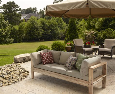 white outdoor sofa diy outdoor seating her tool belt