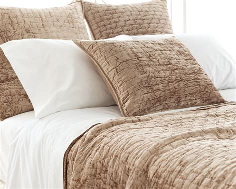 Quilted Velvet Coverlet soft textured light brown washable velvet coverlet shams j brulee