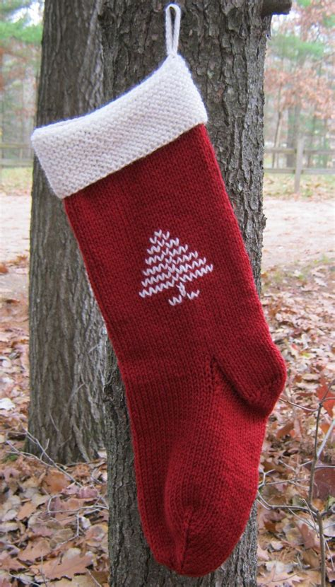 knitting pattern for christmas tree stocking hand knit christmas stocking burgundy red with pine tree
