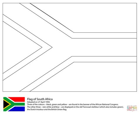 flag of south africa coloring page free printable